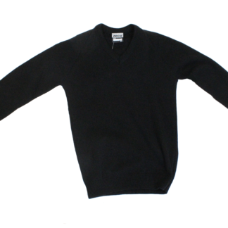 Knitted 'V' Neck Jumper - Black