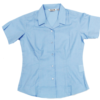 SGA - Fitted Short Sleeve blue Girls Blouse