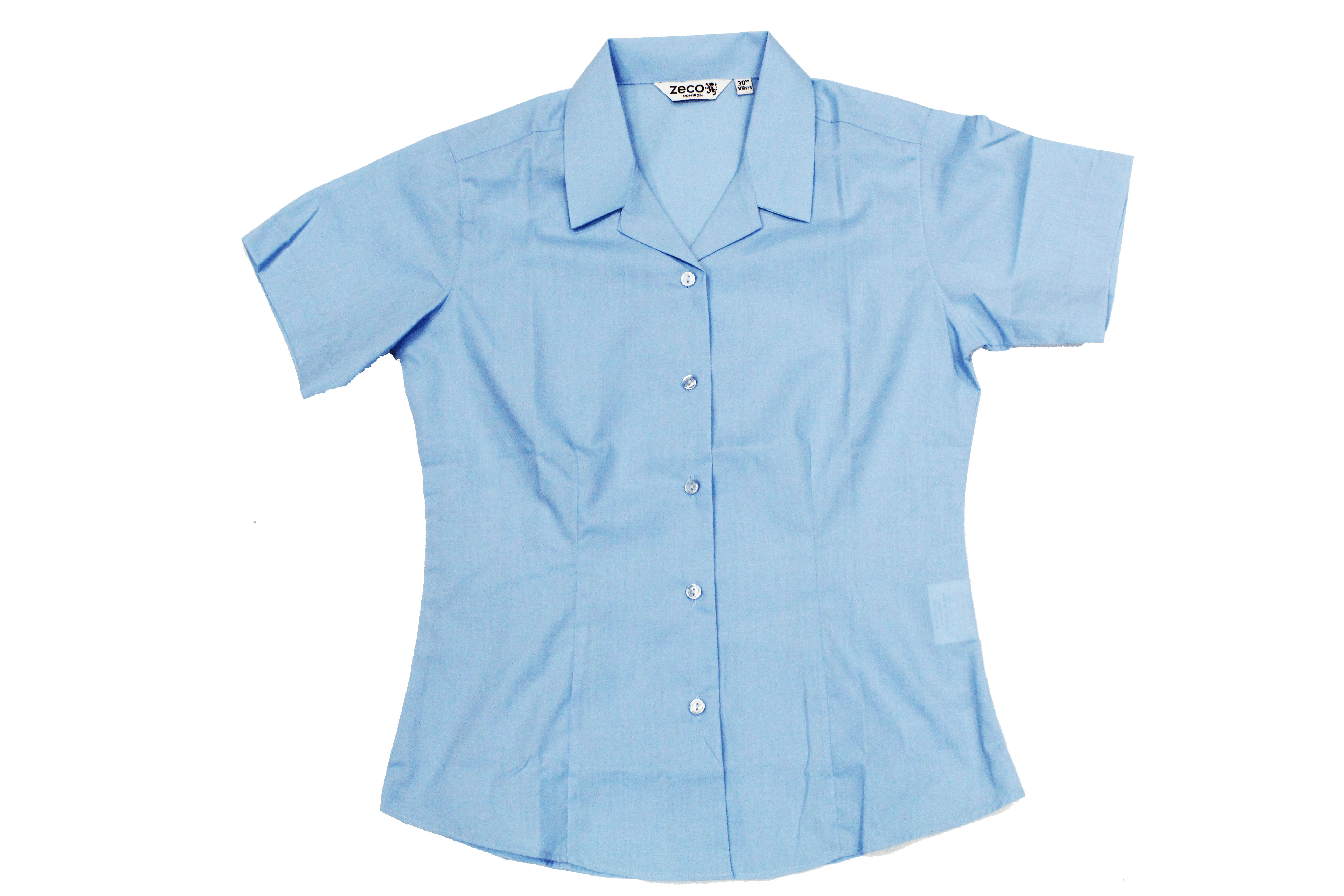SGA - Fitted Short Sleeve blue Girls Blouse